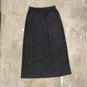 Zara Black Tan Polka Dots Pleated Skirt Size Small